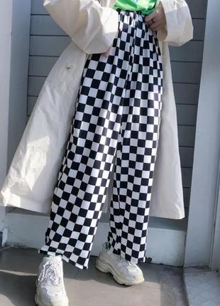 Штаны в шахматную клетку , в шашку , в шашечку , в черно белую клетку e-girl тренд