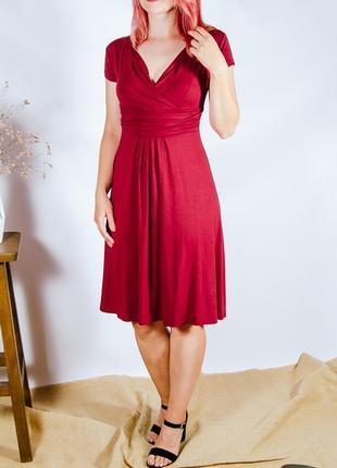 Классическое платье миди, бордовое платье, осеннее платье миди