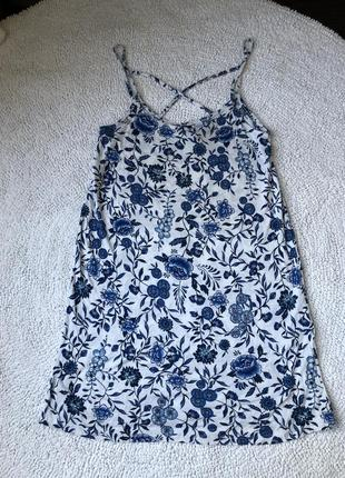 Платье летнее легкое голубое синее белое h&m