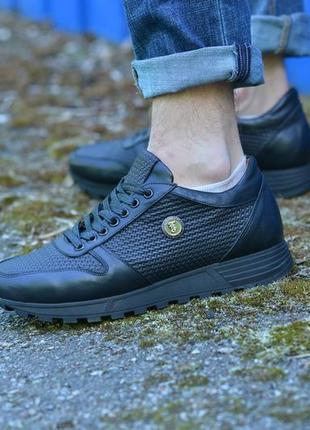 Кожаные кроссовки с тиснением от производителя flamanti, шкіряні кросівки від виробника