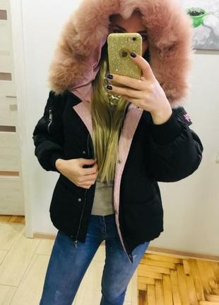 Куртка зимняя дутик, зефирка, с розовым мехом