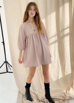Эффектное платье мини с объёмными рукавами