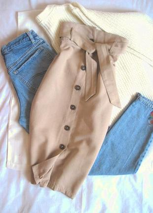 Натуральная юбка-карандаш миди высокая талия под пояс primark