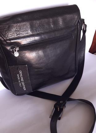 Мужская кожаная сумка портфель дорожная через плечо чёрная натуральная
