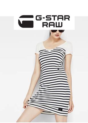 Платье мини g-star raw в морском стиле тельняжка сарафан полосатое трикотажное