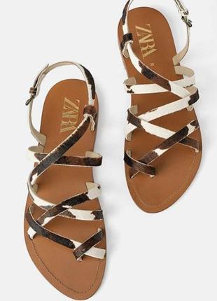 Кожаные сандали босоножки оригинал кожа натуральная zara