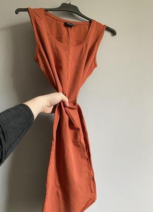 Платье ( сарафан ) майка терракотовое трикотажное . ровный крой