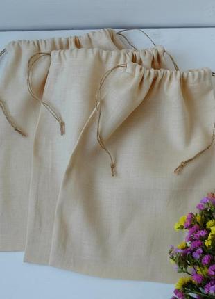 Льняной эко мешочек для покупок, еко торба, тканевой мешок zero weste
