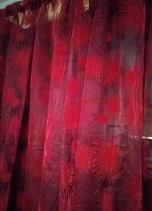 Шикарная тюль бордового цвета, вышитые велюровые цветы
