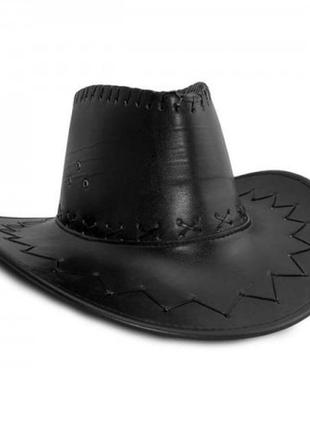 Шляпа ковбоя кожаная (эко-кожа) черная