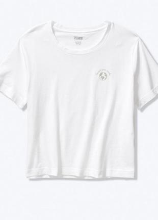 Хлопковая белая  футболка из серии pink от виктория сикрет