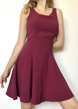 Бордовое платье н&м
