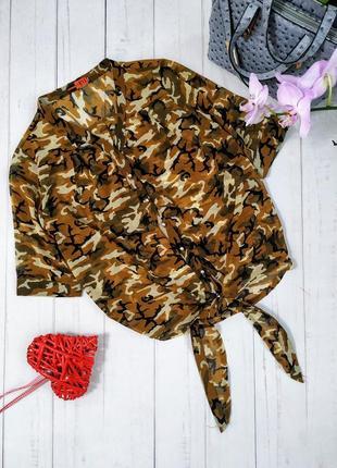 Блузка шифоновая в стиле милитари, камуфляж, италия.