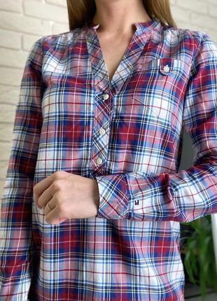 Удлиненная рубашка в клетку красная белая синяя