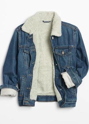 Джинсовый жакет, пиджак ,куртка, на меху шерпа,gap