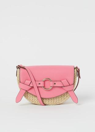 Плетеная сумка-седло с длинными ручками h&m