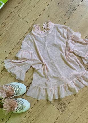 Розовая пудровая  нежная нарядная блуза блузка