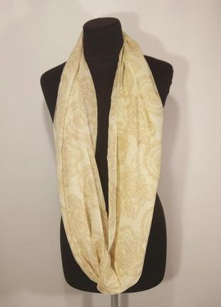 Нежный шифоновый шарф снуд хомут бежевый пейсли тонкий шелковыц