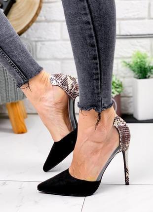 Новые шикарные женские чёрные туфли лодочки