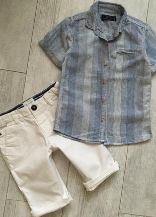 Рубашка некст лён и хлопок с коротким рукавом 4-5 лет