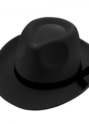 Шляпа федора мужская черная маскарадная