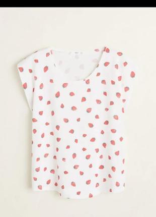 Женская футболка белая в принт размер s от mango