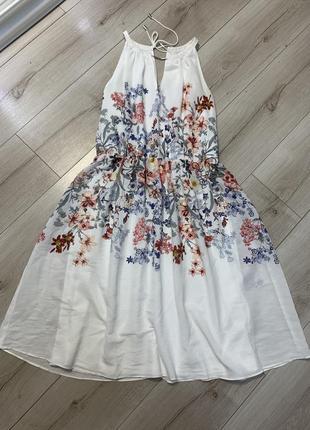 Белое миди платье сарафан zara принт