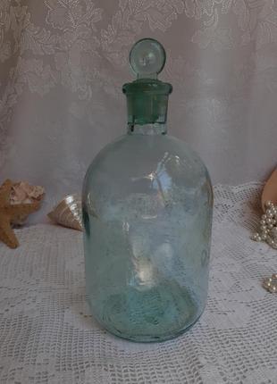 Графин штоф бутыль старинное стекло ссср с пробкой