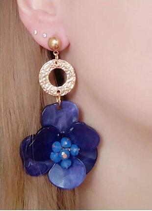 Серьги акриловые вечерние синие сережки цветочки цветочек