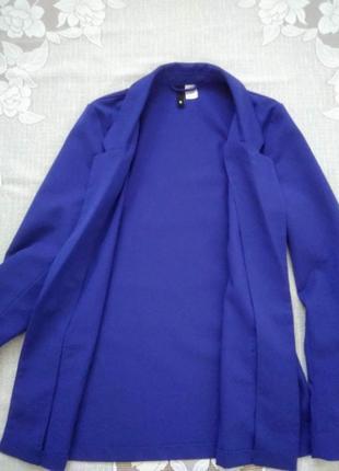 Стильный пиджак жакет блейзер прямой удлиненный класический синий h&m