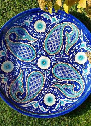 Узбекская тарелка блюдо ляган d 40 см в традиционной технике исполнения. риштан