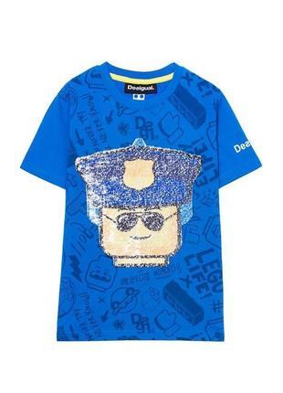 Крутая детская футболка с пайетками desigual la vida es chula 9/10 лет 134/140