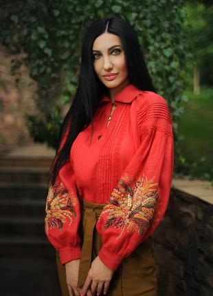 """Льняная блуза с ручной вышивкой """"колосья и травы"""" дизайнерская вышиванка"""