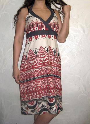 Платье сарафан debenhams индия разноцветное принт обшитое бисером летнее коттон
