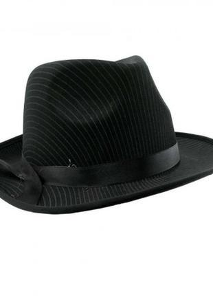 Шляпа федора мужская черная мафия мафиози