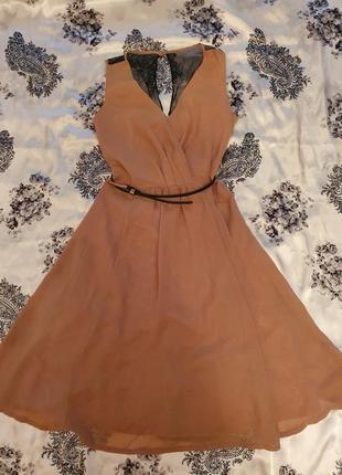 Нарядное нюдовое платье oodji, xs-s