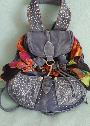 Рюкзак джинсовый со стразами (камнями и заклепками) бренд street th