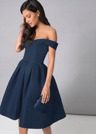 Коктельне плаття міді chi chi london, вечернее платье с открытыми плечами