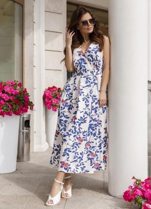 Хлопковое летнее платье с декольте на запах