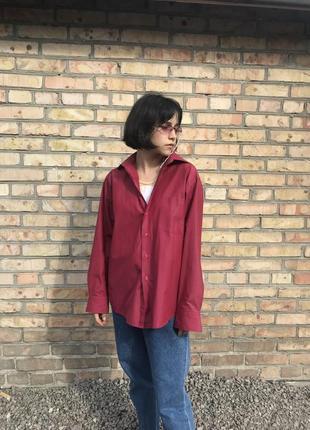 Мужская красная рубашка oversize