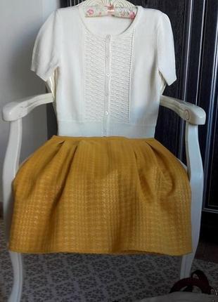Mодный кроп-свитер кардиган ажурной вязки/h&м/короткий рукав/p.м/как новый