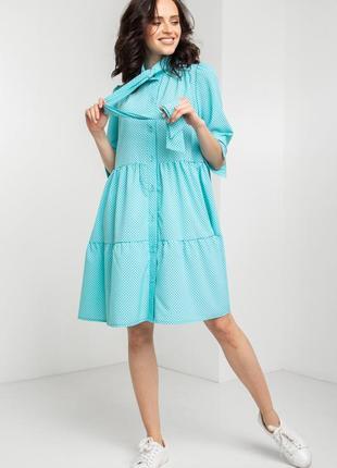Короткое платье балахон голубого цвета в горошек 🔥скидки до 10.08🔥