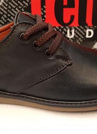 Подростковые кожаные туфли в школу на мальчика,черные