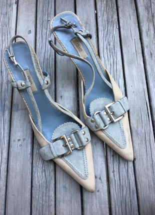 Prada vintage винтажные кожаные босоножки/ туфли, оригинал