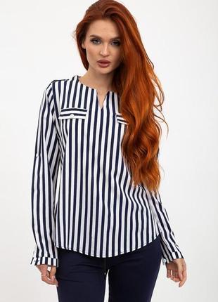 Блуза женская цвет сине-белый