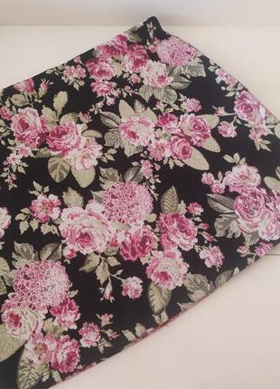 Яркая трикотажная фактурная юбка,цветочный принт