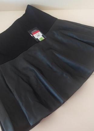 Комбинированная юбка( экокожа+трикотаж)