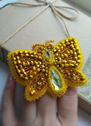 Прикраса, брошь. золотий метелик, золотая бабочка