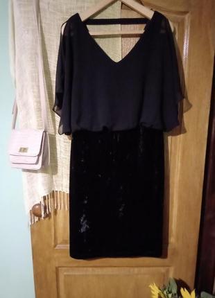 Вечернее платье с веллюром и шифоном