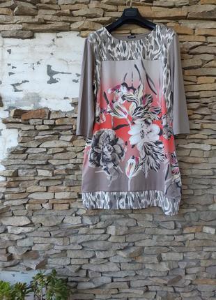 Вискозное с принтом спереди платье большого размера